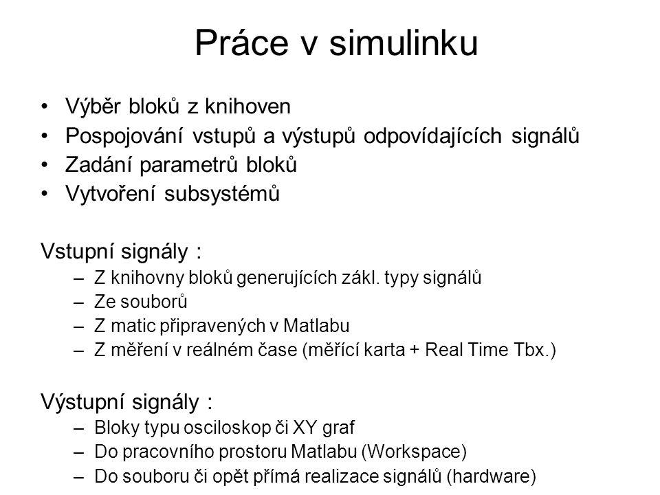 Výběr bloků z knihoven Pospojování vstupů a výstupů odpovídajících signálů Zadání parametrů bloků Vytvoření subsystémů Vstupní signály : –Z knihovny b