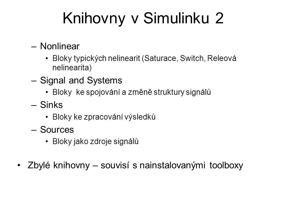 –Nonlinear Bloky typických nelinearit (Saturace, Switch, Releová nelinearita) –Signal and Systems Bloky ke spojování a změně struktury signálů –Sinks