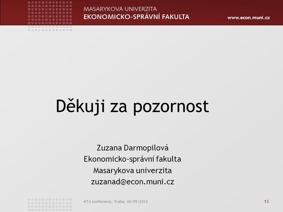 www.econ.muni.cz HTA konference, Praha, 06/05/2010 13 Děkuji za pozornost Zuzana Darmopilová Ekonomicko-správní fakulta Masarykova univerzita zuzanad@econ.muni.cz