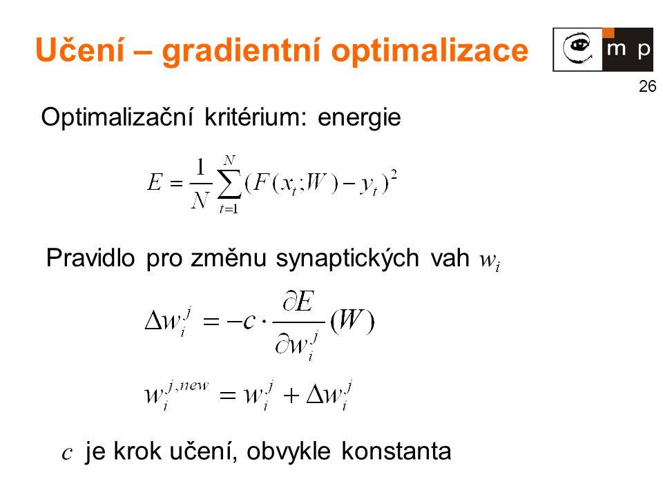 26 Učení – gradientní optimalizace Optimalizační kritérium: energie Pravidlo pro změnu synaptických vah w i c je krok učení, obvykle konstanta