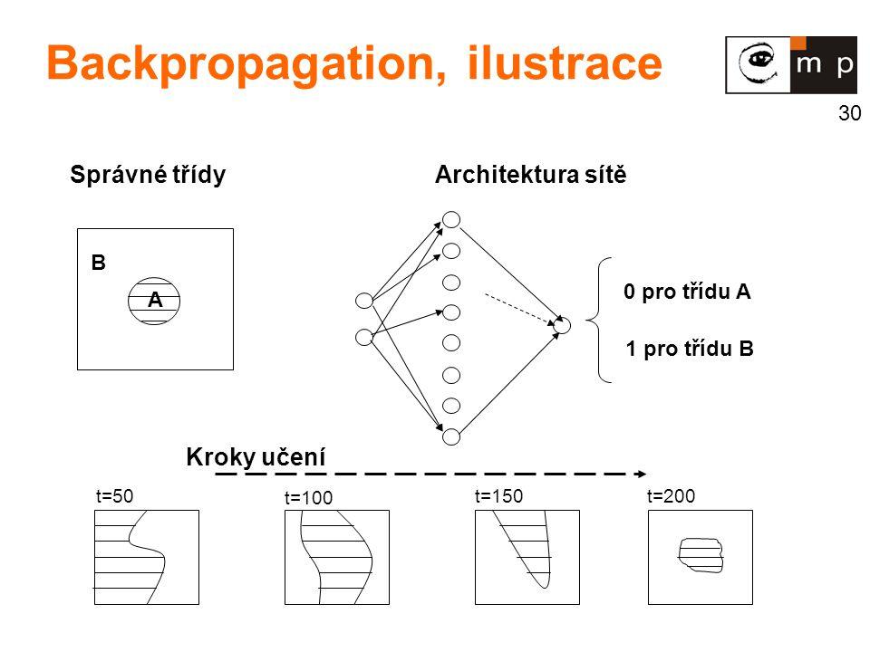 30 Správné třídy 0 pro třídu A 1 pro třídu B t=50 t=100 t=150 t=200 Kroky učení Architektura sítě B A Backpropagation, ilustrace