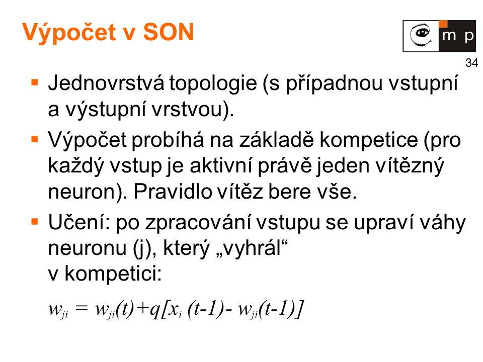 34 Výpočet v SON  Jednovrstvá topologie (s případnou vstupní a výstupní vrstvou).  Výpočet probíhá na základě kompetice (pro každý vstup je aktivní