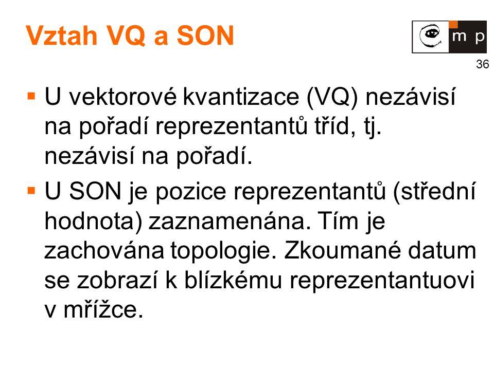 36 Vztah VQ a SON  U vektorové kvantizace (VQ) nezávisí na pořadí reprezentantů tříd, tj. nezávisí na pořadí.  U SON je pozice reprezentantů (středn