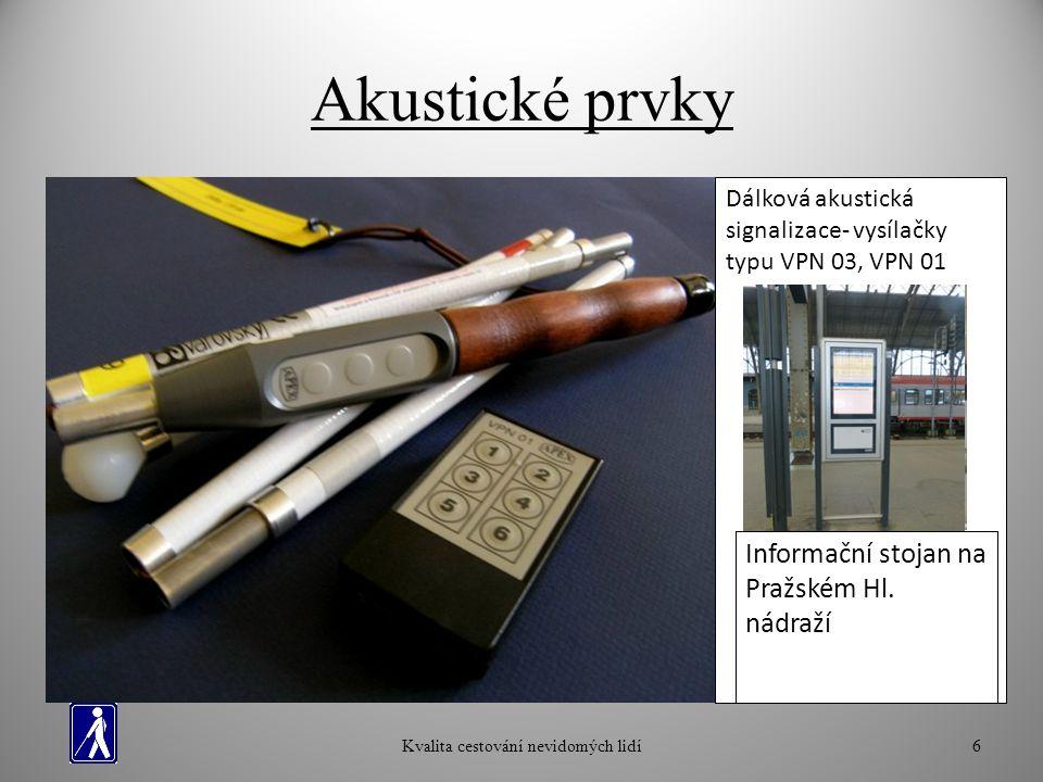 Akustické prvky Kvalita cestování nevidomých lidí6 Zvukový signál na přechodech- Tlačítko pro slepce Dálková akustická signalizace- vysílačky typu VPN 03, VPN 01 Akustický orientační a informační majáček- zast.