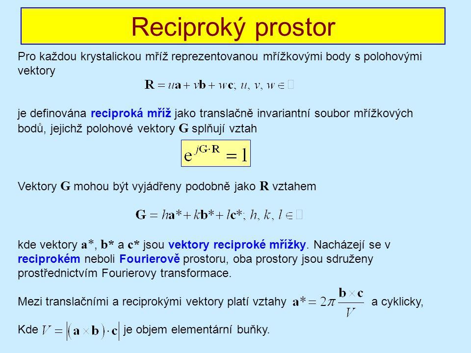 Pro každou krystalickou mříž reprezentovanou mřížkovými body s polohovými vektory je definována reciproká mříž jako translačně invariantní soubor mřížkových bodů, jejichž polohové vektory G splňují vztah Vektory G mohou být vyjádřeny podobně jako R vztahem kde vektory a*, b* a c* jsou vektory reciproké mřížky.