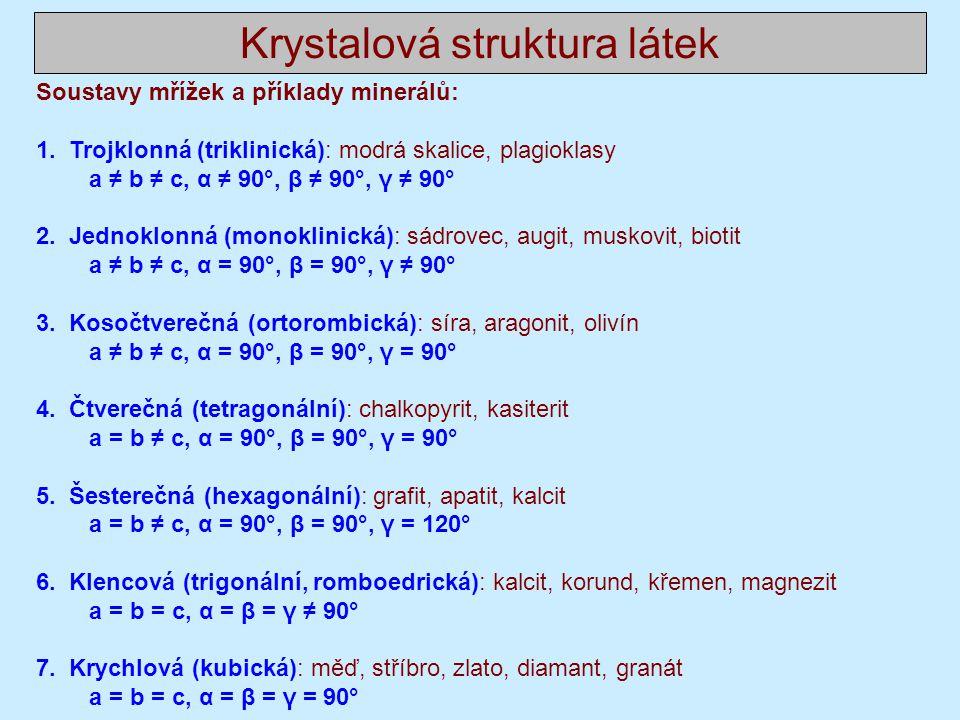 Krystalová struktura látek Soustavy mřížek a příklady minerálů: 1.