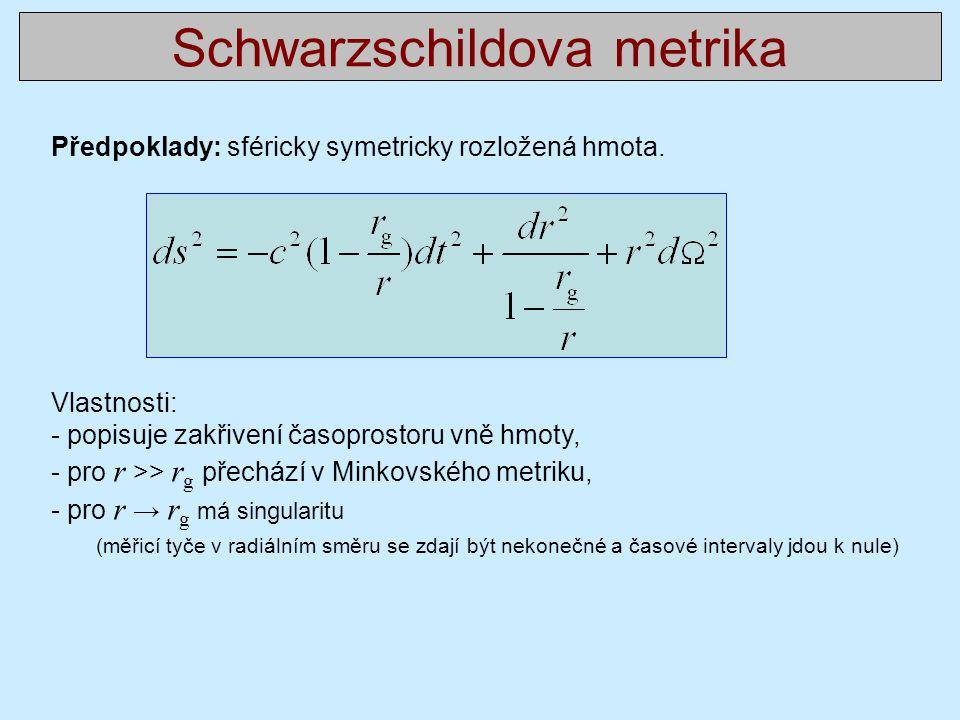 Schwarzschildova metrika Předpoklady: sféricky symetricky rozložená hmota.