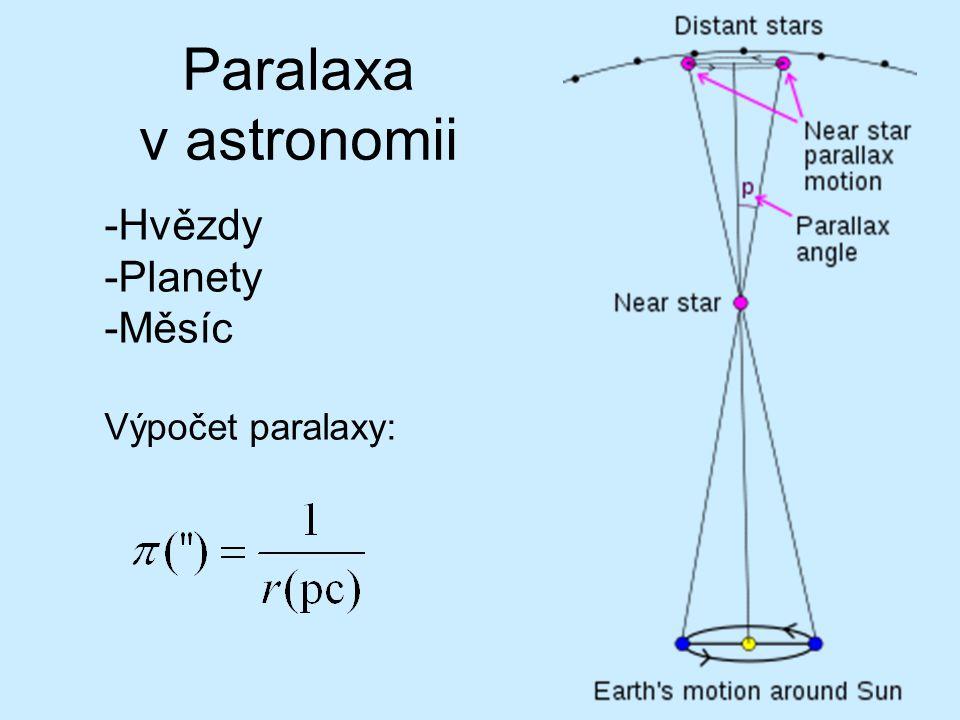 Paralaxa v astronomii -Hvězdy -Planety -Měsíc Výpočet paralaxy: