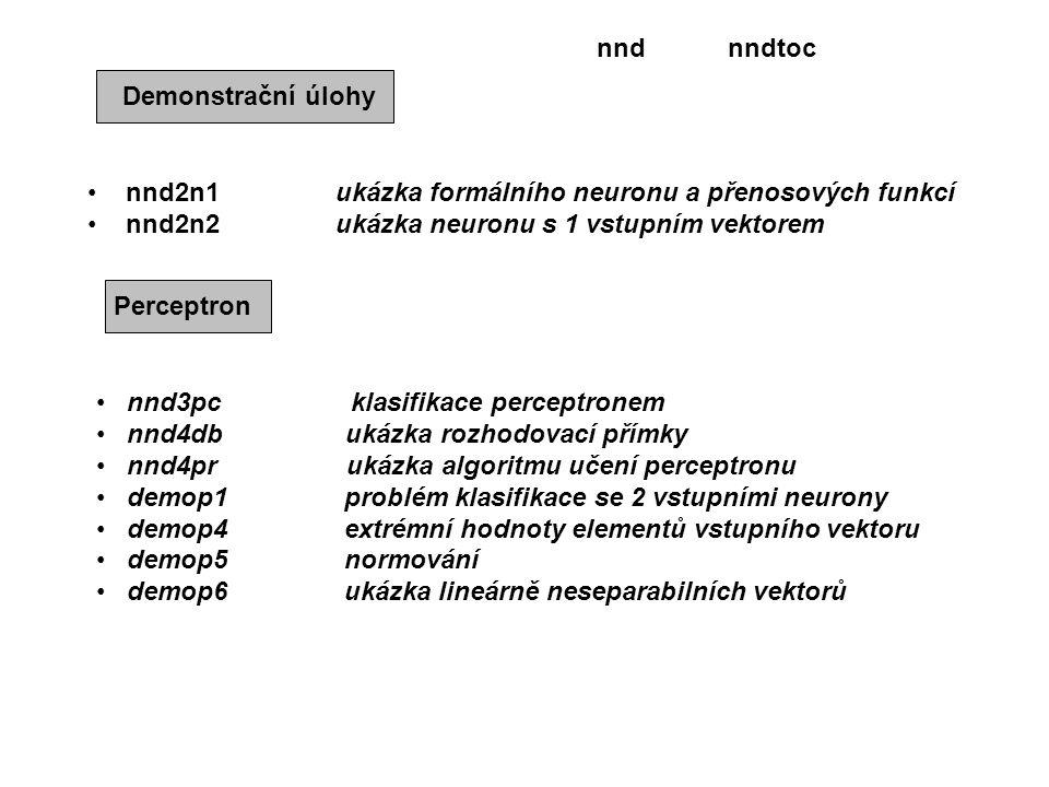 Demonstrační úlohy nnd2n1 ukázka formálního neuronu a přenosových funkcí nnd2n2 ukázka neuronu s 1 vstupním vektorem Perceptron nnd3pc klasifikace perceptronem nnd4db ukázka rozhodovací přímky nnd4pr ukázka algoritmu učení perceptronu demop1 problém klasifikace se 2 vstupními neurony demop4 extrémní hodnoty elementů vstupního vektoru demop5 normování demop6 ukázka lineárně neseparabilních vektorů nndtocnnd
