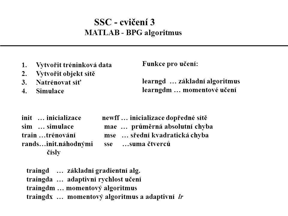 SSC - cvičení 3 MATLAB - BPG algoritmus 1.Vytvořit tréninková data 2.Vytvořit objekt sítě 3.Natrénovat síť 4.Simulace Funkce pro učení: learngd … základní algoritmus learngdm … momentové učení init … inicializace newff … inicializace dopředné sítě sim … simulace mae … průměrná absolutní chyba train …trénování mse … sřední kvadratická chyba rands…init.náhodnými sse …suma čtverců čísly traingd … základní gradientní alg.