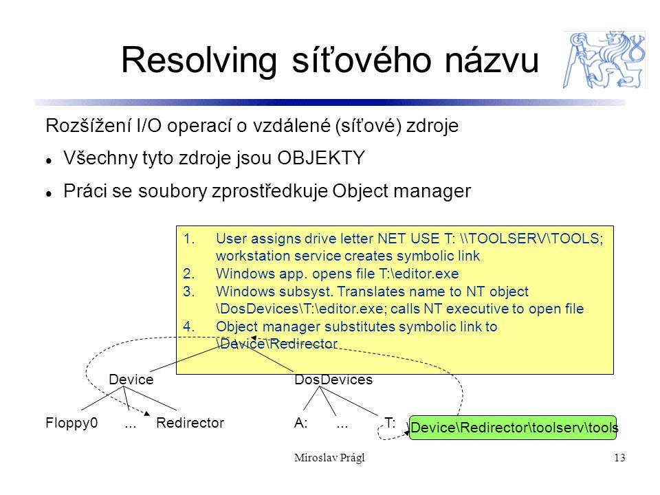 13 Resolving síťového názvu Rozšížení I/O operací o vzdálené (síťové) zdroje Všechny tyto zdroje jsou OBJEKTY Práci se soubory zprostředkuje Object manager 1.User assigns drive letter NET USE T: \\TOOLSERV\TOOLS; workstation service creates symbolic link 2.Windows app.