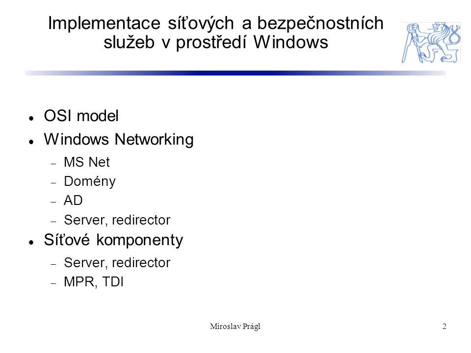 23 Windows Firewall Základní aplikační firewall / packetový filtr Windows XP, 2003 – jednosměrný (Windows 2003 RRAS vylučuje použití Windows Firewallu) Windows Vista – obousměrný Konfigurace pomocí GP Miroslav Prágl