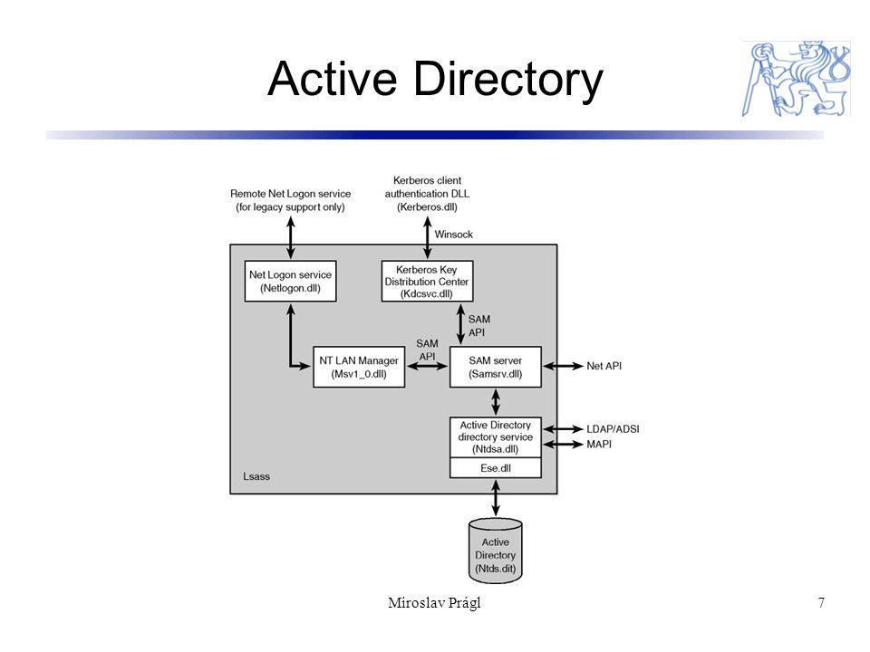 8 Síťové komponenty Redirector a network server  Nástup s MS-NET(assembler)  Kompletně přepsaný kód (c) pro Windows NT/2000  Implementován jako ovladače souborových systémů  Může koexistopvat s redirectory / servery jiných dodavatelů (netware) Implementace v podobě ovladačů znamená  Jsou součástí Windows executive  Přístup k ovladačům interface I/O manageru  Možnost přímého využívání funkcí cache manageru  Vrstvený model I/O manageru odpovídá vrstvám síťových protokolů  Redirector / server mohou pracovat modulárně - nad libovolným síťovým protokolem Miroslav Prágl