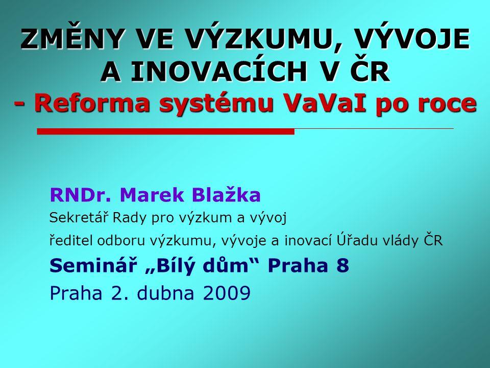 ZMĚNY VE VÝZKUMU, VÝVOJE A INOVACÍCH V ČR - Reforma systému VaVaI po roce RNDr. Marek Blažka Sekretář Rady pro výzkum a vývoj ředitel odboru výzkumu,
