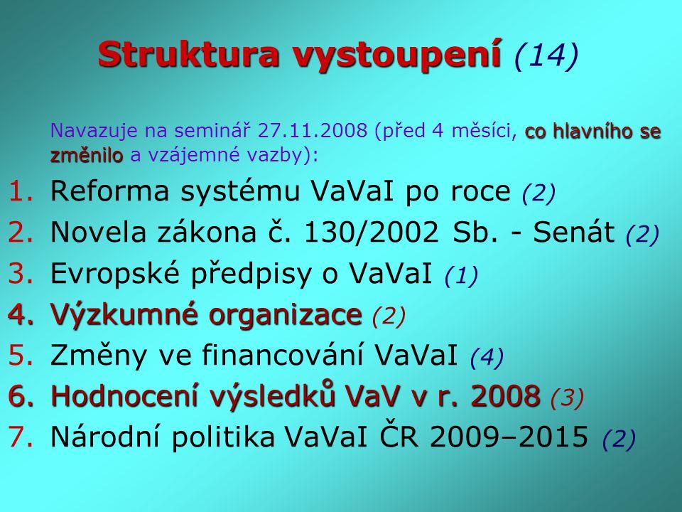 Struktura vystoupení Struktura vystoupení (14) co hlavního se změnilo Navazuje na seminář 27.11.2008 (před 4 měsíci, co hlavního se změnilo a vzájemné vazby): 1.Reforma systému VaVaI po roce (2) 2.Novela zákona č.