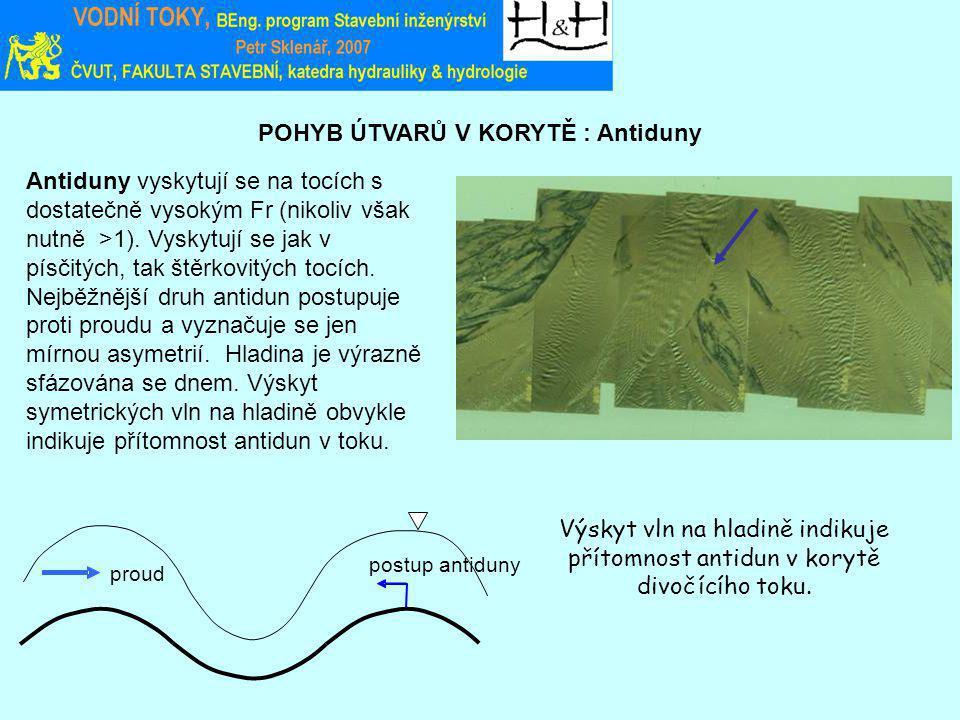POHYB ÚTVARŮ V KORYTĚ : Antiduny Výskyt vln na hladině indikuje přítomnost antidun v korytě divočícího toku.