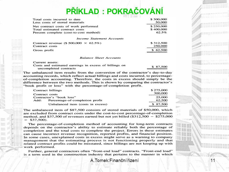 A.Tomek:Finanční řízení11 PŘÍKLAD : POKRAČOVÁNÍ