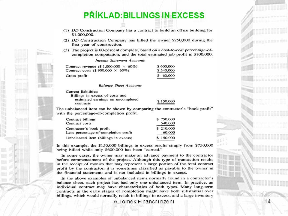 A.Tomek:Finanční řízení14 PŘÍKLAD:BILLINGS IN EXCESS