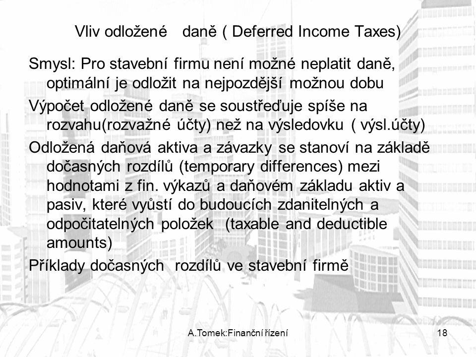 A.Tomek:Finanční řízení18 Vliv odložené daně ( Deferred Income Taxes) Smysl: Pro stavební firmu není možné neplatit daně, optimální je odložit na nejpozdější možnou dobu Výpočet odložené daně se soustřeďuje spíše na rozvahu(rozvažné účty) než na výsledovku ( výsl.účty) Odložená daňová aktiva a závazky se stanoví na základě dočasných rozdílů (temporary differences) mezi hodnotami z fin.