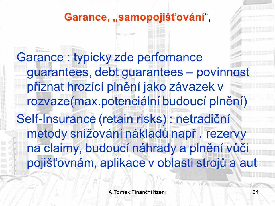 """A.Tomek:Finanční řízení24 Garance, """"samopojišťování , Garance : typicky zde perfomance guarantees, debt guarantees – povinnost přiznat hrozící plnění jako závazek v rozvaze(max.potenciální budoucí plnění) Self-Insurance (retain risks) : netradiční metody snižování nákladů např."""