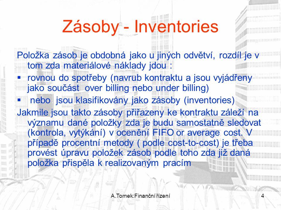 A.Tomek:Finanční řízení4 Zásoby - Inventories Položka zásob je obdobná jako u jiných odvětví, rozdíl je v tom zda materiálové náklady jdou :  rovnou do spotřeby (navrub kontraktu a jsou vyjádřeny jako součást over billing nebo under billing)  nebo jsou klasifikovány jako zásoby (inventories) Jakmile jsou takto zásoby přiřazeny ke kontraktu záleží na významu dané položky zda je budu samostatně sledovat (kontrola, vytýkání) v ocenění FIFO or average cost.