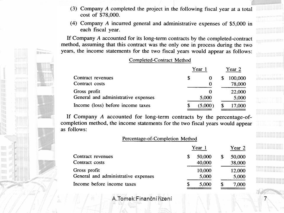 8 Výpočet procenta dokončenosti 1)Standardní metoda je stanovení procenta jako poměr celkových nákladů vykázaných k danému datu ku celkovým kalkulovaným nákladům na danou produkci (cost-to-cost method.