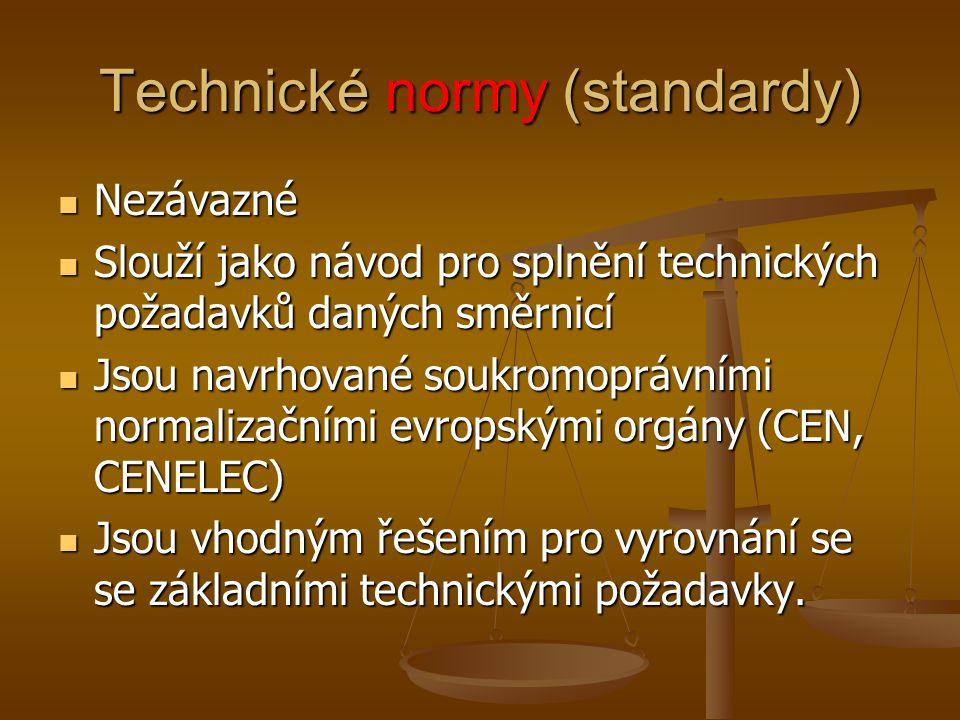 Technické normy (standardy) Nezávazné Nezávazné Slouží jako návod pro splnění technických požadavků daných směrnicí Slouží jako návod pro splnění tech