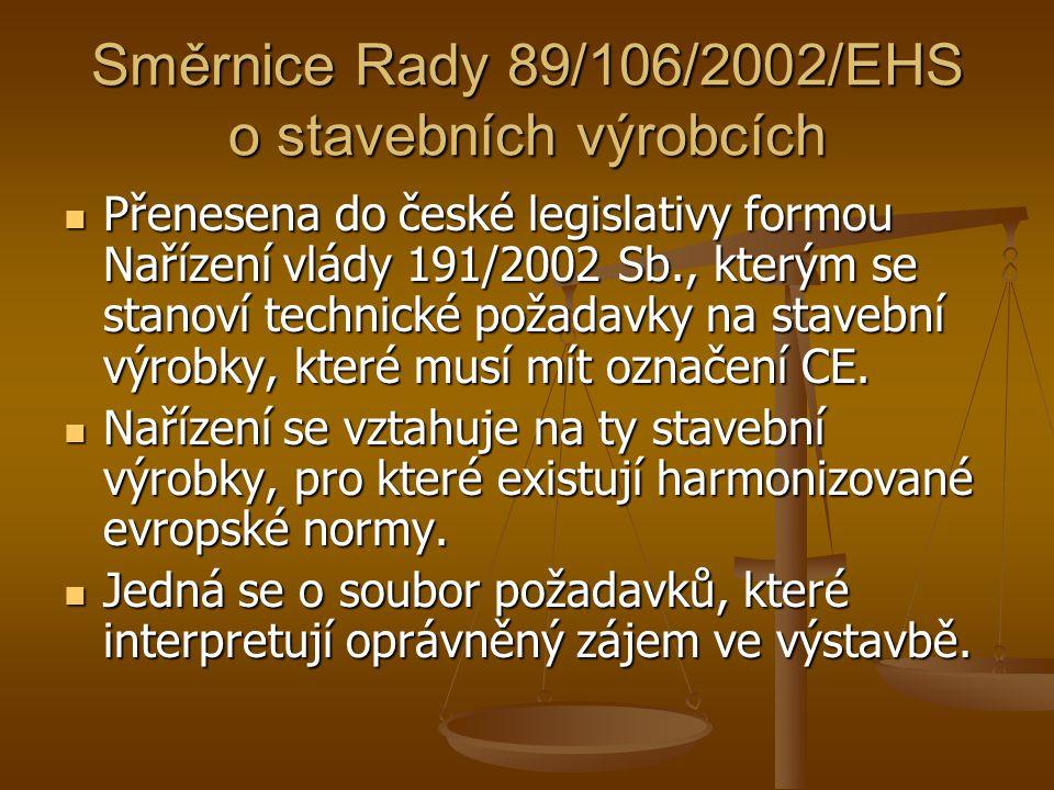Směrnice Rady 89/106/2002/EHS o stavebních výrobcích Přenesena do české legislativy formou Nařízení vlády 191/2002 Sb., kterým se stanoví technické po