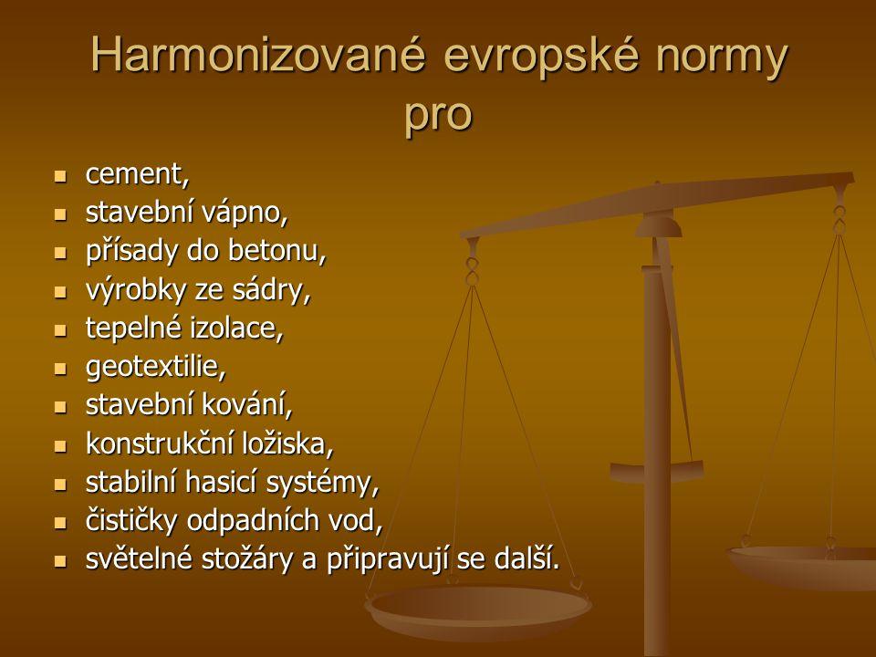 Harmonizované evropské normy pro cement, cement, stavební vápno, stavební vápno, přísady do betonu, přísady do betonu, výrobky ze sádry, výrobky ze sá