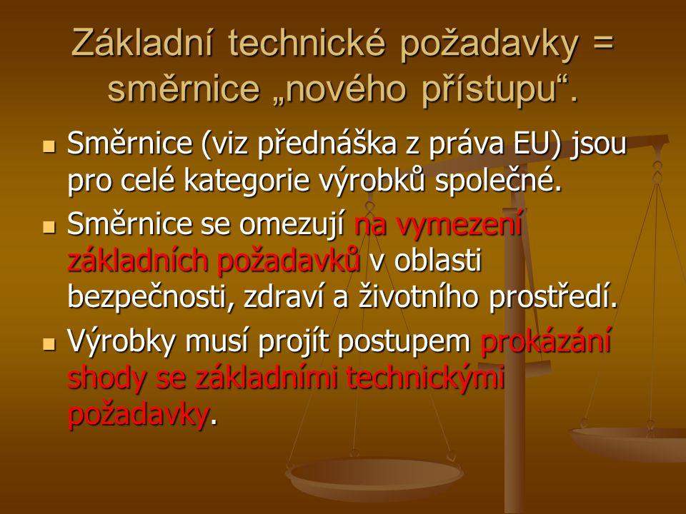 """Základní technické požadavky = směrnice """"nového přístupu"""". Směrnice (viz přednáška z práva EU) jsou pro celé kategorie výrobků společné. Směrnice (viz"""