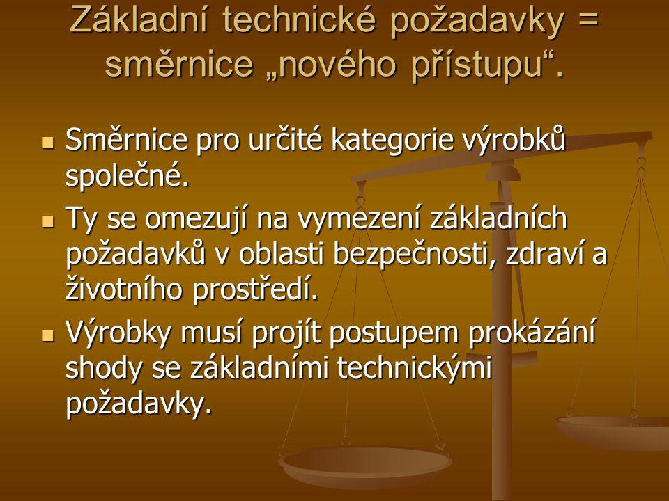 8 postupů prokázání shody 8 postupů prokázání shody U jednoduchých výrobků může prohlásit shodu sám výrobce U jednoduchých výrobků může prohlásit shodu sám výrobce U složitých zařízení musí zasáhnout autorizovaná zkušebna (buď provádí typovou zkoušku, nebo vykonává dohled nad systémem jakosti nebo kontroluje každý výrobek) U složitých zařízení musí zasáhnout autorizovaná zkušebna (buď provádí typovou zkoušku, nebo vykonává dohled nad systémem jakosti nebo kontroluje každý výrobek)