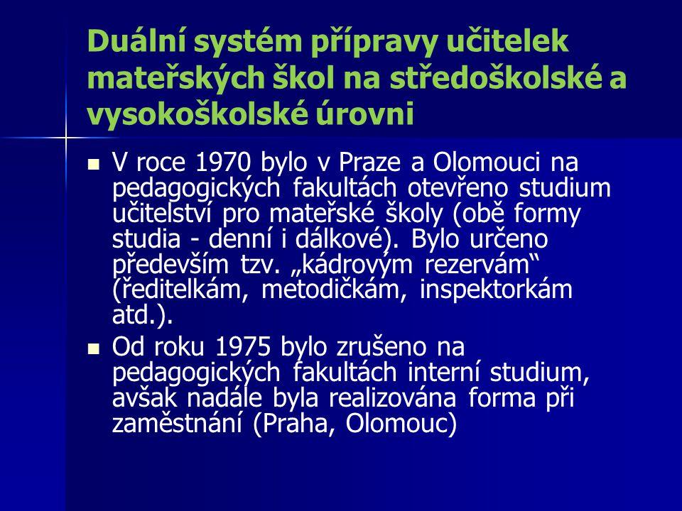 Duální systém přípravy učitelek mateřských škol na středoškolské a vysokoškolské úrovni V roce 1970 bylo v Praze a Olomouci na pedagogických fakultách