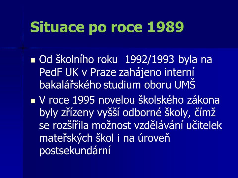 Situace po roce 1989 Od školního roku 1992/1993 byla na PedF UK v Praze zahájeno interní bakalářského studium oboru UMŠ V roce 1995 novelou školského