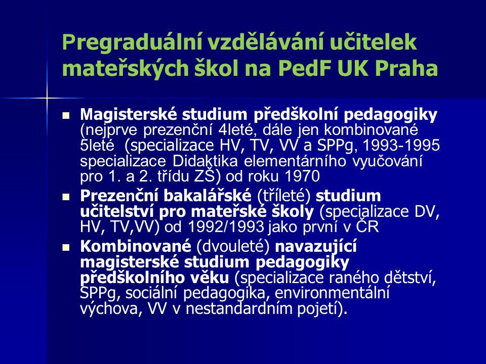P regraduální vzdělávání učitelek mateřských škol na PedF UK Praha M agisterské studium předškolní pedagogiky (nejprve prezenční 4leté, dále jen kombi