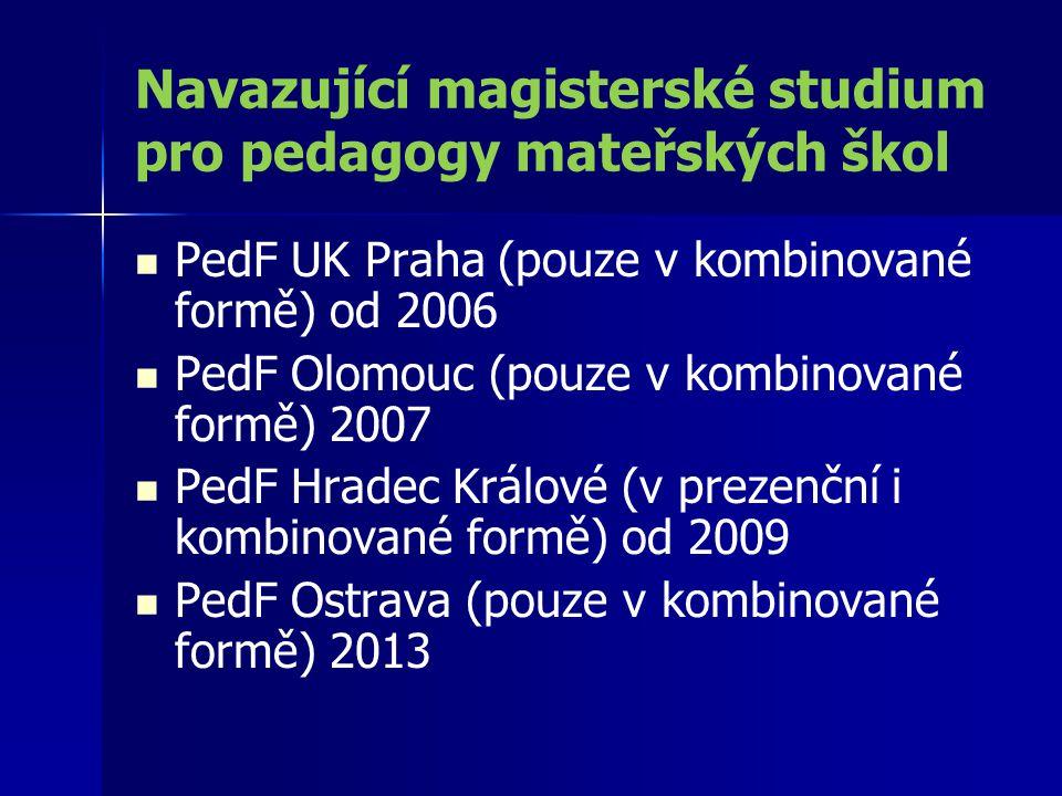 Navazující magisterské studium pro pedagogy mateřských škol PedF UK Praha (pouze v kombinované formě) od 2006 PedF Olomouc (pouze v kombinované formě)