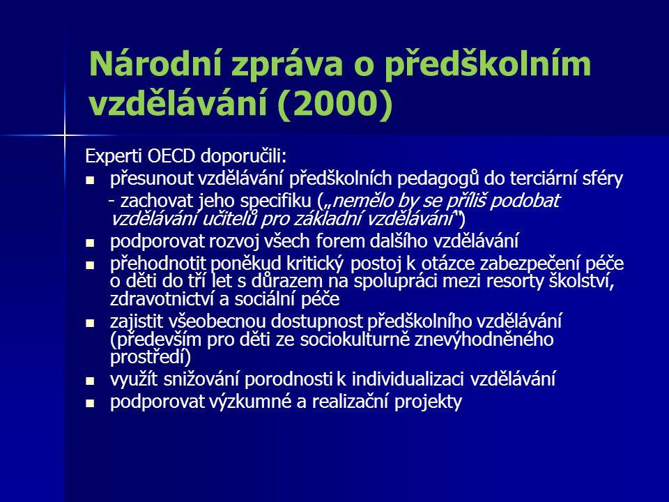 Národní zpráva o předškolním vzdělávání (2000) Experti OECD doporučili: přesunout vzdělávání předškolních pedagogů do terciární sféry - zachovat jeho