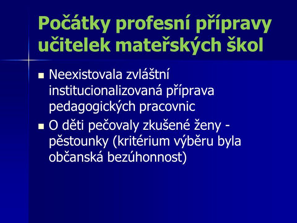 Pražská opatrovna Na Hrádku (založena r.1832) Středisko přípravy a vzdělávání učitelů (tzv.
