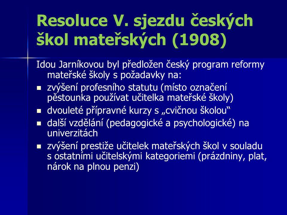 Resoluce V. sjezdu českých škol mateřských (1908) Idou Jarníkovou byl předložen český program reformy mateřské školy s požadavky na: zvýšení profesníh