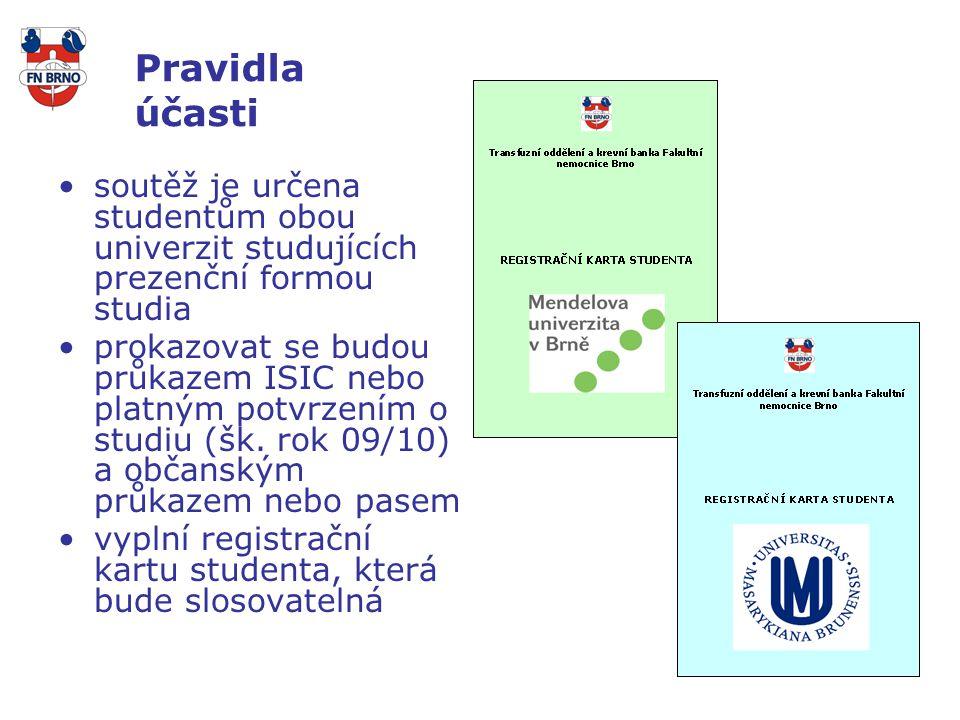 Pravidla účasti soutěž je určena studentům obou univerzit studujících prezenční formou studia prokazovat se budou průkazem ISIC nebo platným potvrzením o studiu (šk.