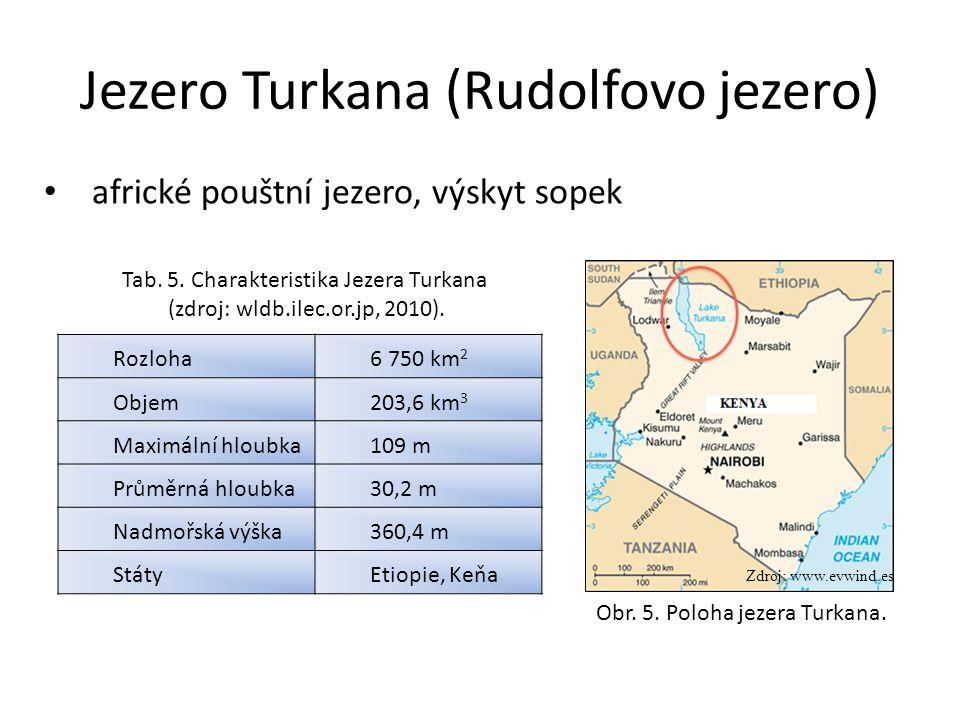Jezero Turkana (Rudolfovo jezero) Rozloha6 750 km 2 Objem203,6 km 3 Maximální hloubka109 m Průměrná hloubka30,2 m Nadmořská výška360,4 m StátyEtiopie, Keňa Zdroj: www.evwind.es Obr.