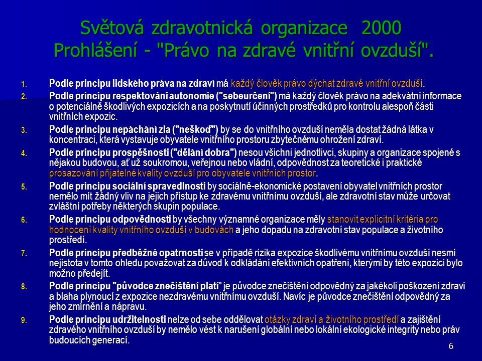 6 Světová zdravotnická organizace 2000 Prohlášení - Právo na zdravé vnitřní ovzduší .
