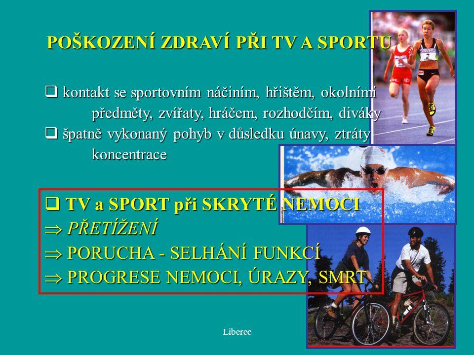 Liberec POŠKOZENÍ ZDRAVÍ PŘI TV A SPORTU q kontakt se sportovním náčiním, hřištěm, okolními předměty, zvířaty, hráčem, rozhodčím, diváky  špatně vyko