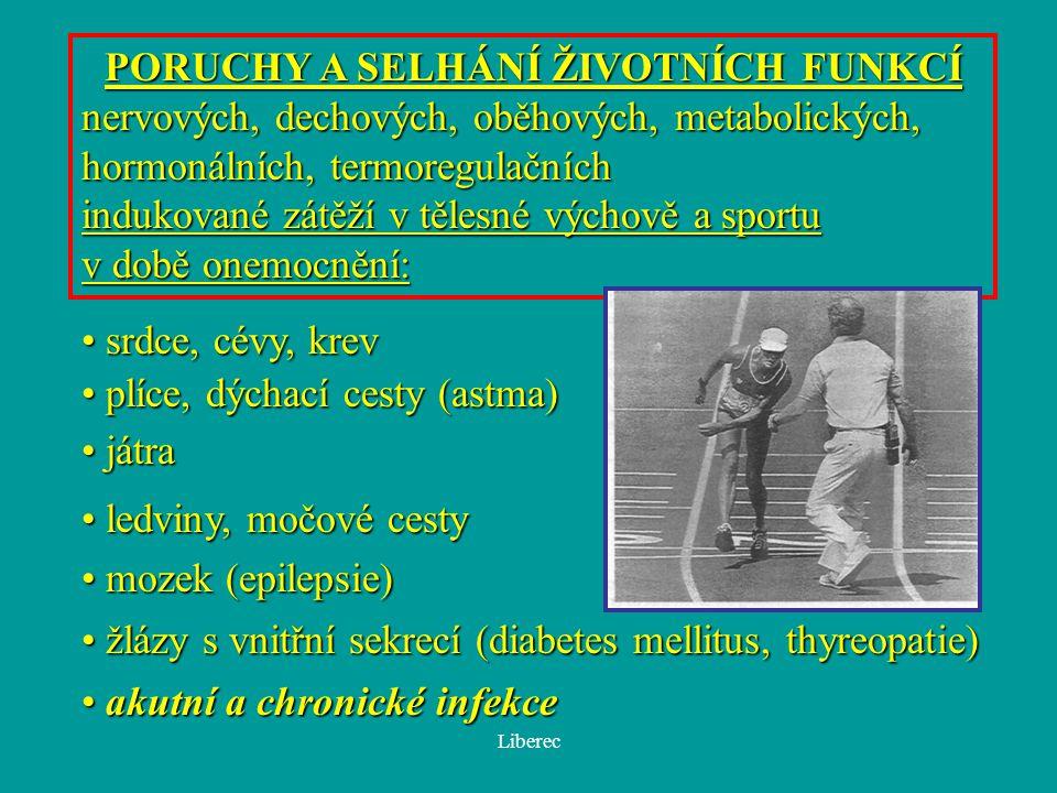 Liberec PORUCHY A SELHÁNÍ ŽIVOTNÍCH FUNKCÍ nervových, dechových, oběhových, metabolických, hormonálních, termoregulačních indukované zátěží v tělesné