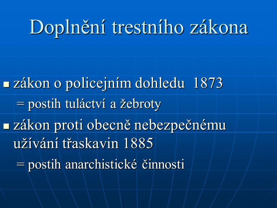 Doplnění trestního zákona zákon o policejním dohledu 1873 zákon o policejním dohledu 1873 = postih tuláctví a žebroty zákon proti obecně nebezpečnému