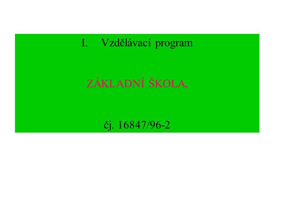 III. Vzdělávací program národní školanárodní škola 1. Učební plán vzdělávacího programu národní škola, čj. 15724/97-20, s platností od 1.9.1997, 1. st
