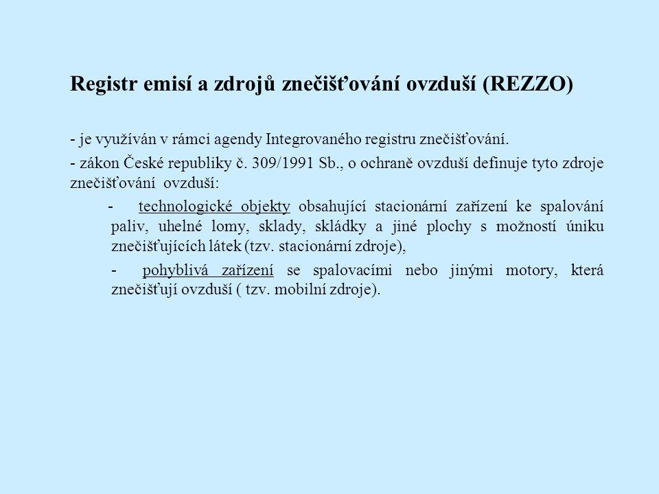 Registr emisí a zdrojů znečišťování ovzduší (REZZO) - je využíván v rámci agendy Integrovaného registru znečišťování.
