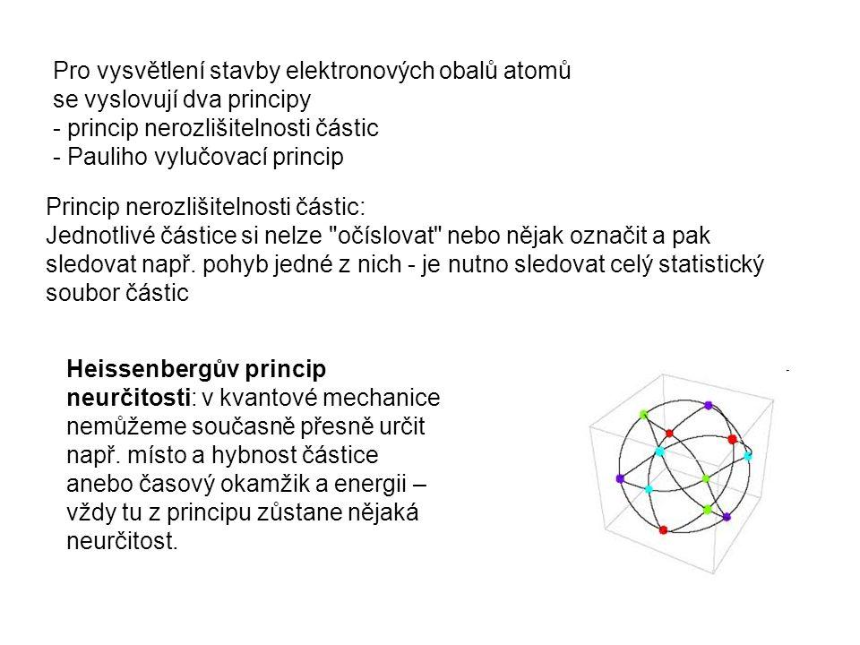 Pro vysvětlení stavby elektronových obalů atomů se vyslovují dva principy - princip nerozlišitelnosti částic - Pauliho vylučovací princip Princip nerozlišitelnosti částic: Jednotlivé částice si nelze očíslovat nebo nějak označit a pak sledovat např.