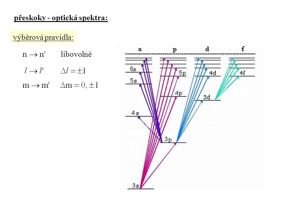 přeskoky - optická spektra: výběrová pravidla: libovolně