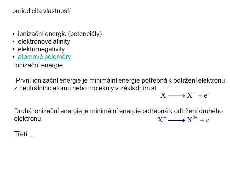 periodicita vlastností ionizační energie (potenciály) elektronové afinity elektronegativity atomové poloměry ionizační energie, První ionizační energi