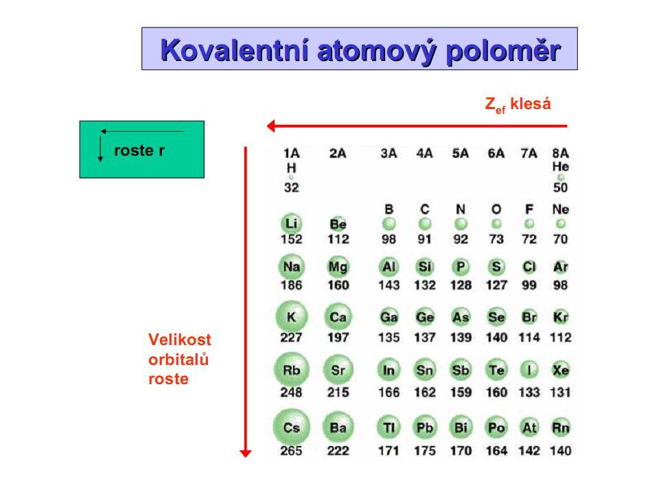 atomové poloměry (kovalentní poloměry, iontové poloměry) průměrné hodnoty charakterizují typický příspěvek atomu k délce vazby pomocí poloměrů je možné přibližně spočítat mezijadernou vzdálenost